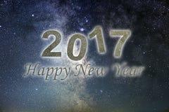 Gelukkig Nieuwjaar 2017 De gelukkige achtergrond van het Nieuwjaar De hemel van de nacht Stock Afbeeldingen