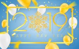 Gelukkig Nieuwjaar 2019 De gouden aantallen met confettien en schitteren ballons op een blauwe achtergrond Vector illustratie vector illustratie