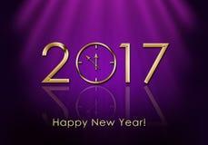 Gelukkig Nieuwjaar 2017 De Klok van het nieuwjaar Stock Afbeeldingen