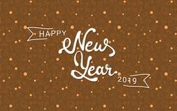 Gelukkig Nieuwjaar 2019 die van letters voorzien Overzichts naadloos patroon royalty-vrije illustratie