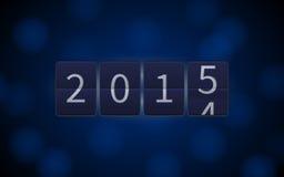 Gelukkig Nieuwjaar 2015, digitale klok, lichteffecten Stock Afbeeldingen