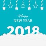 Gelukkig Nieuwjaar 2018 document kunstontwerp met wolken en slingerreeks witte sterren met zilveren linten op de blauwe achtergro Royalty-vrije Stock Foto