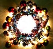 Gelukkig Nieuwjaar een Vrolijk kader van de Kerstmiskroon Stock Afbeelding