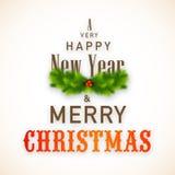 Gelukkig Nieuwjaar en de Vrolijke creatieve affiche van Kerstmisvieringen Stock Afbeelding