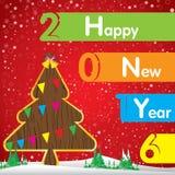 Gelukkig Nieuwjaar en Kerstboom op rode achtergrond Royalty-vrije Stock Afbeeldingen
