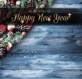 2018 Gelukkig Nieuwjaar en Vrolijk Kerstmiskader met Sneeuw en rea Royalty-vrije Stock Foto's