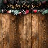 2018 Gelukkig Nieuwjaar en Vrolijk Kerstmiskader met Sneeuw en rea Royalty-vrije Stock Afbeeldingen