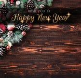 2018 Gelukkig Nieuwjaar en Vrolijk Kerstmiskader met Sneeuw en rea Royalty-vrije Stock Fotografie