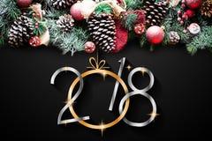 2018 Gelukkig Nieuwjaar en Vrolijk Kerstmiskader met Sneeuw en rea Royalty-vrije Stock Afbeelding