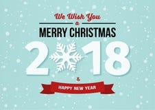 Gelukkig Nieuwjaar 2018 en Vrolijk Kerstmisontwerp met sneeuwvlok en lint op de lichtblauwe de winterachtergrond met dalende snee Stock Afbeeldingen