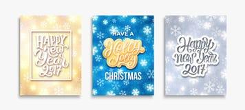 Gelukkig Nieuwjaar 2017 en Vrolijke Kerstkaarten Royalty-vrije Stock Foto's