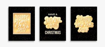 Gelukkig Nieuwjaar 2017 en Vrolijke Kerstkaarten Royalty-vrije Stock Afbeeldingen