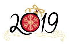 Gelukkig Nieuwjaar en vrolijke Kerstmis 2019 royalty-vrije illustratie