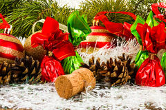 Gelukkig Nieuwjaar en Vrolijke Kerstmis Stock Foto's