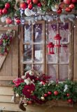 Gelukkig Nieuwjaar en Vrolijke Kerstmis binnenlandse scène met vorstwinst Royalty-vrije Stock Foto's