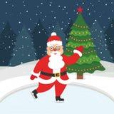 Gelukkig Nieuwjaar en Vrolijke Kerstmis De kaart van de groet met Kerstmisboom Mooie Kerstman die op de de winter ijs-schaatsende Royalty-vrije Stock Foto