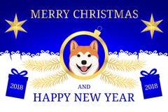 Gelukkig Nieuwjaar 2018 en Vrolijke Kerstmis met Akita Stock Foto's