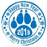 2018 Gelukkig Nieuwjaar en Vrolijke Kerstmis Van de de voetafdrukpoot van de zegelhond de sleepsymbool 2018 op Chinese kalender Stock Fotografie