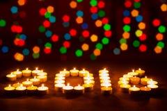 Gelukkig Nieuwjaar 2016 - feestelijke kaarsen Royalty-vrije Stock Foto