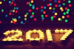 Gelukkig Nieuwjaar 2016 - feestelijke kaarsen Stock Afbeeldingen