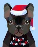 Gelukkig Nieuwjaar! Gelukwenskaart Franse buldog Hond - symbo royalty-vrije illustratie