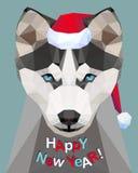 Gelukkig Nieuwjaar! Gelukwenskaart husky Hond - symbool van 2018 stock illustratie