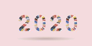 2020 Gelukkig Nieuwjaar Groetkaart met inschrijvings Gelukkig Nieuwjaar 2020 De geometrische heldere stijl van Memphis voor Geluk stock illustratie