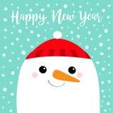 Gelukkig Nieuwjaar Het hoofd van het sneeuwmangezicht Wortelneus, rode hoed Het leuke karakter van beeldverhaal grappige kawaii V royalty-vrije illustratie