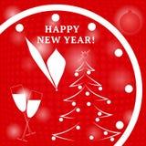 Gelukkig Nieuwjaar Horloge, Kerstmisballen en boom Vector in rood c Royalty-vrije Stock Foto's