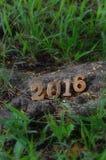 Gelukkig Nieuwjaar 2016 houten aantallenstijl Stock Fotografie