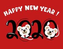 Gelukkig Nieuwjaar Jaar van de witte rat 2020 Leuke muis, het symbool van 2020 Vector illustratie lettering royalty-vrije illustratie