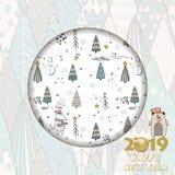 2019 Gelukkig Nieuwjaar Kaart voor uw ontwerp met de winterbos vector illustratie