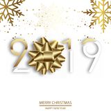 Gelukkig Nieuwjaar of Kerstkaart met gouden boog en teksten 2019 Vector stock foto's