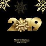 Gelukkig Nieuwjaar of Kerstkaart met gouden boog en teksten 2019 Vector royalty-vrije stock fotografie