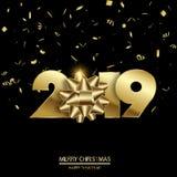 Gelukkig Nieuwjaar of Kerstkaart met gouden boog en teksten 2019 Vector stock fotografie
