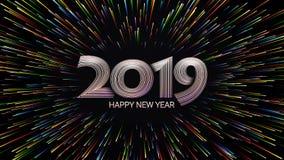 Gelukkig Nieuwjaar 2019 Kerstmis Kleurenvuurwerk Abstracte samenstelling in de vorm van zonlicht royalty-vrije illustratie