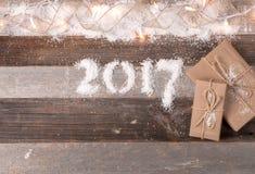 Gelukkig Nieuwjaar 2017 Kerstmisgiften Stock Afbeeldingen