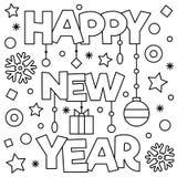 Gelukkig Nieuwjaar Kleurende pagina Vector illustratie Royalty-vrije Stock Afbeeldingen