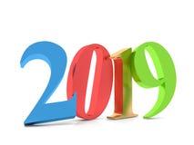 Gelukkig Nieuwjaar kleurrijke 2019, 3D Royalty-vrije Stock Foto's
