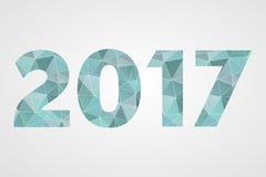 2017 Gelukkig Nieuwjaar laag poly blauw symbool op grijze gradiëntachtergrond Stock Afbeeldingen