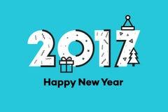 Gelukkig Nieuwjaar 2017 Memphis Style Text Design Vlakke vectorillustratie Stock Fotografie