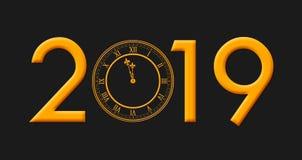 Gelukkig Nieuwjaar 2019 met Gouden Gekleurde Klok die Twaalf A slaan stock afbeelding