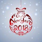 Gelukkig Nieuwjaar 2018 met hand het van letters voorzien ontwerp op de winterachtergrond Stock Illustratie