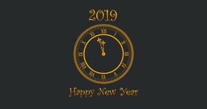 Gelukkig Nieuwjaar 2019 met het Gouden Gekleurde Tekst en Klok Slaan stock fotografie