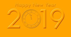 Gelukkig Nieuwjaar 2019 met het Gouden Gekleurde Tekst en Klok Slaan stock foto's