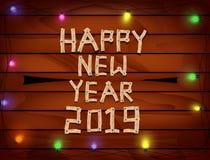 2019 Gelukkig Nieuwjaar met letters en getallen hout op houten achtergrond stock illustratie