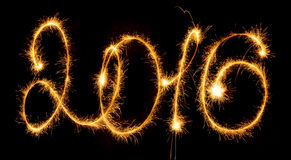 Gelukkig Nieuwjaar - 2016 met sterretjes Stock Foto's