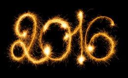 Gelukkig Nieuwjaar - 2016 met sterretjes op zwarte Stock Foto's