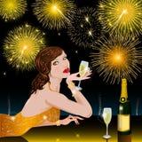 Gelukkig Nieuwjaar met vrouw Royalty-vrije Stock Foto