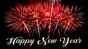 Gelukkig Nieuwjaar met vuurwerk op de achtergrond